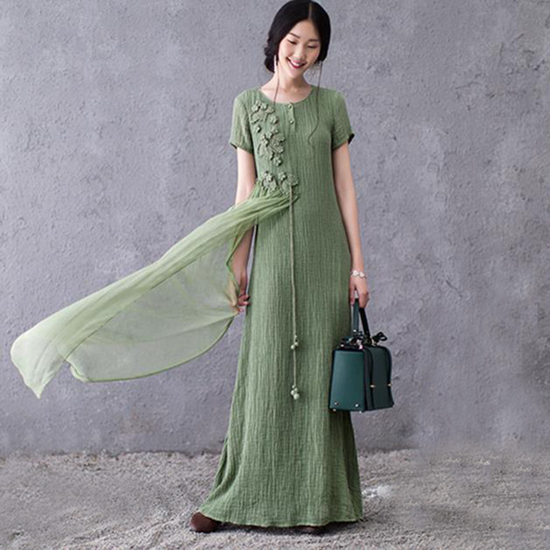 US $29.41 50% OFF|2017 New Summer Dress Women Plus Size Maxi Dresses  Embroidery Vintage Short Sleeve Vestidos Linen Cotton Dress Long Robe  AB051-in ...