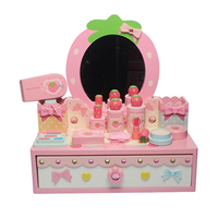 1 Set of Creative Wooden Simulation Beauty Makeup Toys Strawberry Shape Mirror Table Children Role playing Toys for Girls