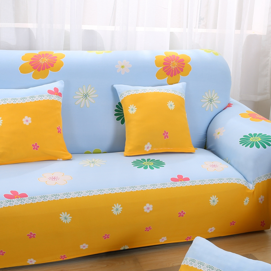 Yellow/blue Color Floral Design Sofa Covers Slipcovers For Living Room  Elastic Sofa Cover Sofa All Inclusive Sofa Cover Spandex In Sofa Cover From  Home ...