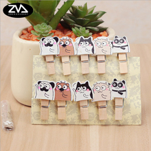 10Pcs/lots Panda dog cartoon wood clip Photo Paper Postcard Craft DIY decoration Clips Office Binding Supplies Stationer