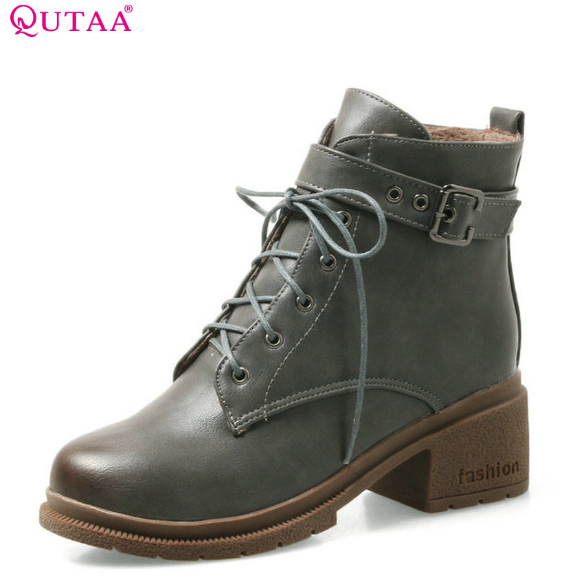 QUTAA 2018 Women Ankle Boots Fashion Lace Up Round Toe All Match Pu Leather Square High Heel Platform Women Boots Size 34-43 qutaa 2018 high quality pu leather women ankle boots fashion square high heel zipper round toe all match women boots size 34 43