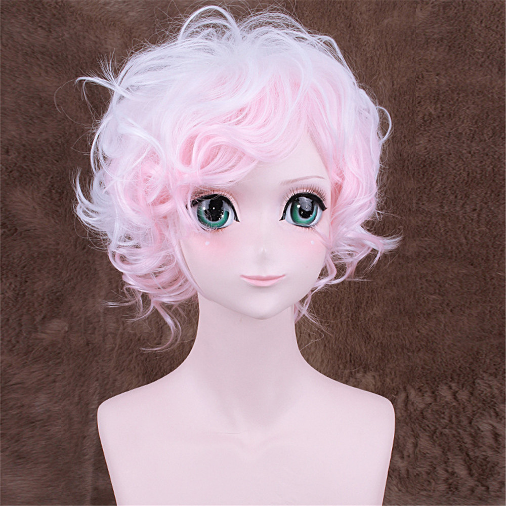 Danganronpa Komaeda Nagito Short Curly Wavy Cosplay Wig for Man Boys 30cm 13 Heat Resistant Synthetic Hair White Pink Gradient