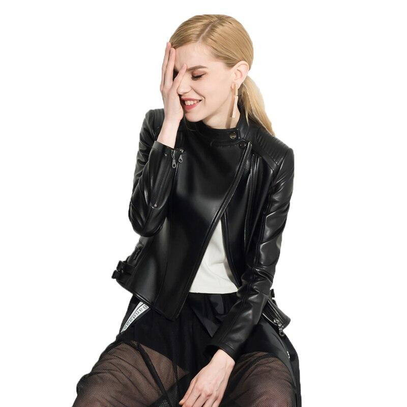Réel De Fourrure Véritable veste en cuir haut pour femme Manteau en peau de Mouton veste printemps automne Femmes 2019 Coréen Court Slim Fit Manteaux ZT390