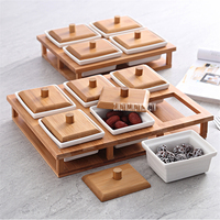 TY6525 Compartment Storage Box Dried Fruit Plate Living Room Tables Ceramic Nuts Boxes Home Food Storage Tanks With Wood Cover