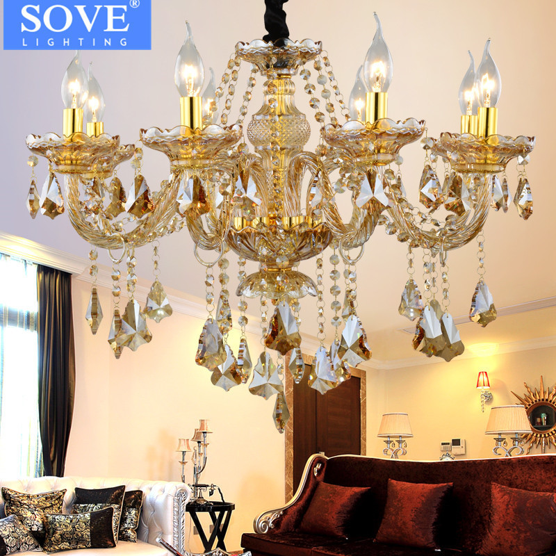 SOVE Lustre Chambre Gold Chandeliers Ceiling Modern Crystal Chandelier Lighting Luxury Cognac Glass Lamp Ramadan Decoration