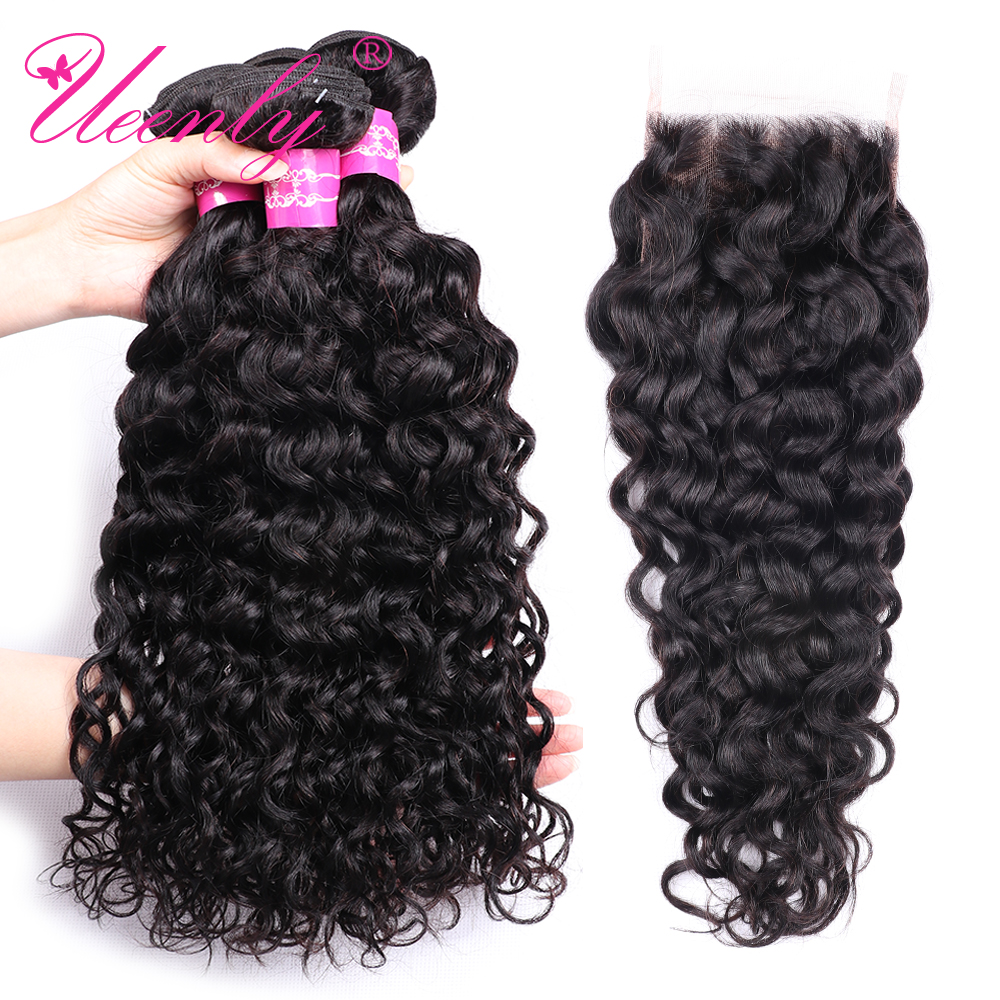 UEENLY Water-Wave-Bundles Closure Natural-Color Malaysian with Non-Remy