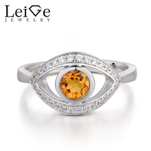 Leige Jewelry Natural Citrine Ring Engagement Ring Round Cut Yellow Gemstone 925 Sterling Silver November Birthstone Evil Eye