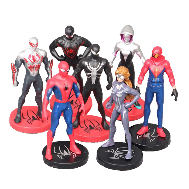 7st / set Spider-Man: Homecoming 9 cm Super Hero Spider Man Action - Toy figuriner