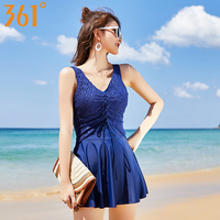 361 New Women Swimwear Two Piece Suit Solid Wrinkle Backless Swimming Suits Push Up Hot Spring Bathing Suit Pool Dress Swimsuits
