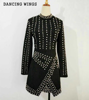 Luxury Beaded Catwalk Dress Round Neck Sexy Bag Hip Split Irregular Dress Autumn Retro Black Dress