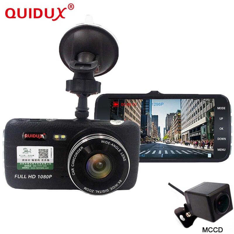 QUIDUX 2018 Nouvelle Voiture DVR 4.0 Pouce Double Lentille Full HD 1296 P Caméra dash cam Vidéo Recorde CCD Nuit vision Greffier MSC8328P