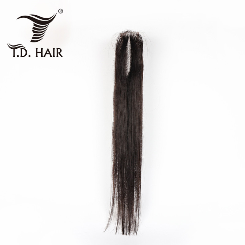 2*6 Lace Closure Middle Part Brazilian Straight  Hair Natural Color Human Hair Closure With Baby Hair For Women Tdhair