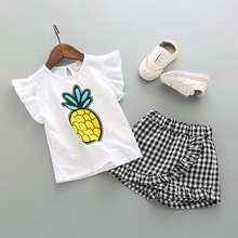 цена на 2018baby girl t-shirt+shorts cartoon print  cuff  trousers children's wear suit 2 pieces set pineapple