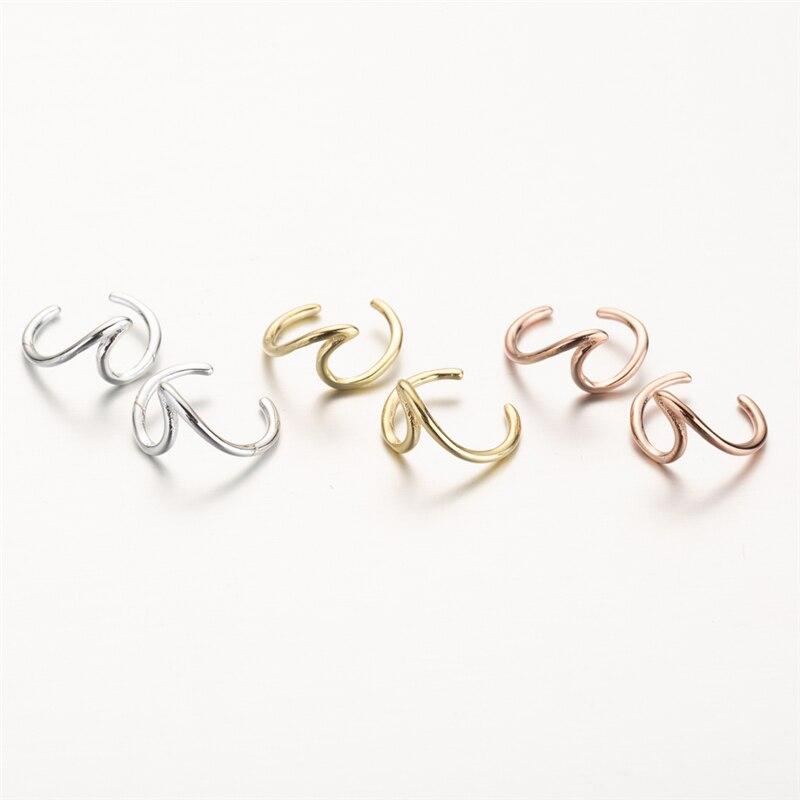 ALI shop ...  ... 32990144427 ... 4 ... Yiustar Wave Ear Cuff Wave Cartilage Earrings Women Stainless Steel Twisted Ear Cuff Boho Jewelry Fake Conch Piercing Ear Studs ...