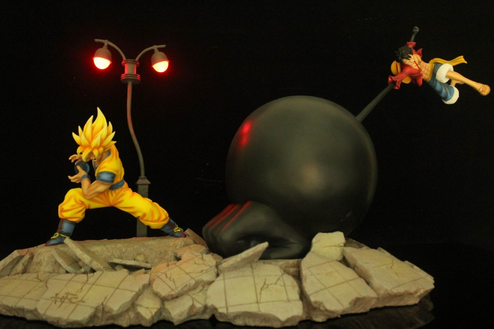 MODEL FANS HFC Dragon Ball Z 45cm super saiyan goku vs Monkey D. Luffy gk resin action figure toy for Collection