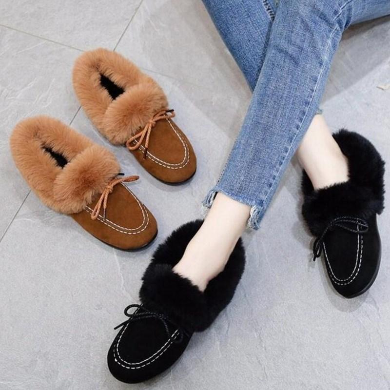 Planos Negro Vaca Moda De Mujer Plataforma 2019 Las Invierno naranja Nieve Gamuza Tobillo Botas Mujeres Peluche Zapatos Nuevo SAnwfYqa