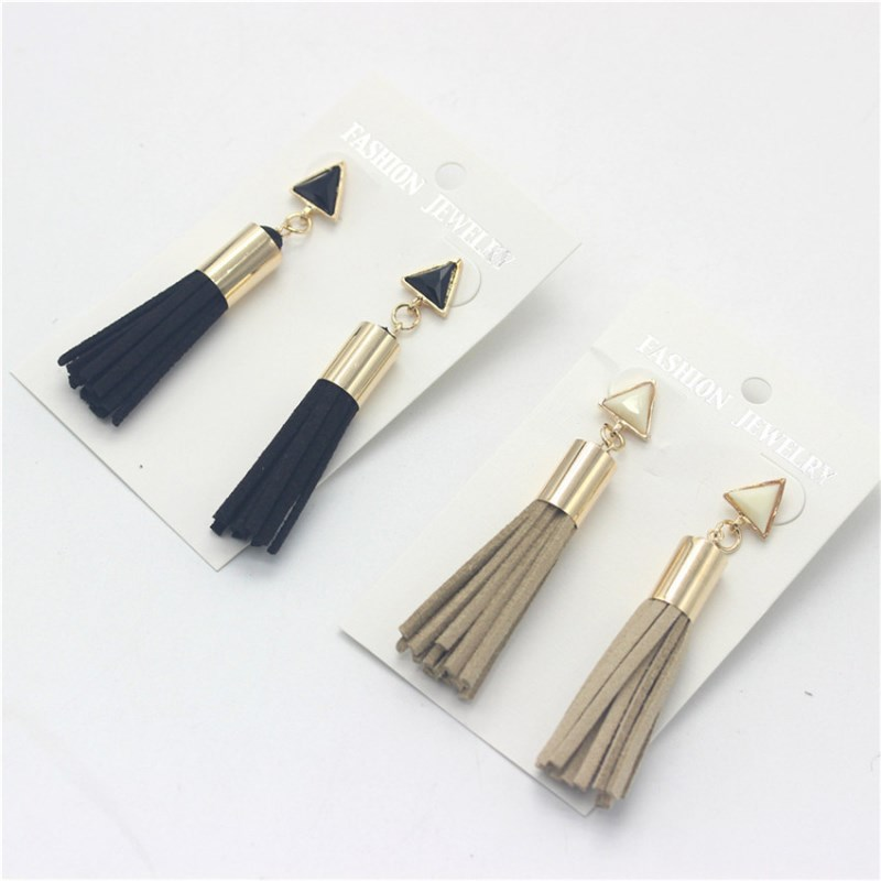 triangle drop earrings tassels faux suede fabric long earrings hanging for women fashion vintage jewelery jewelry new year gifts