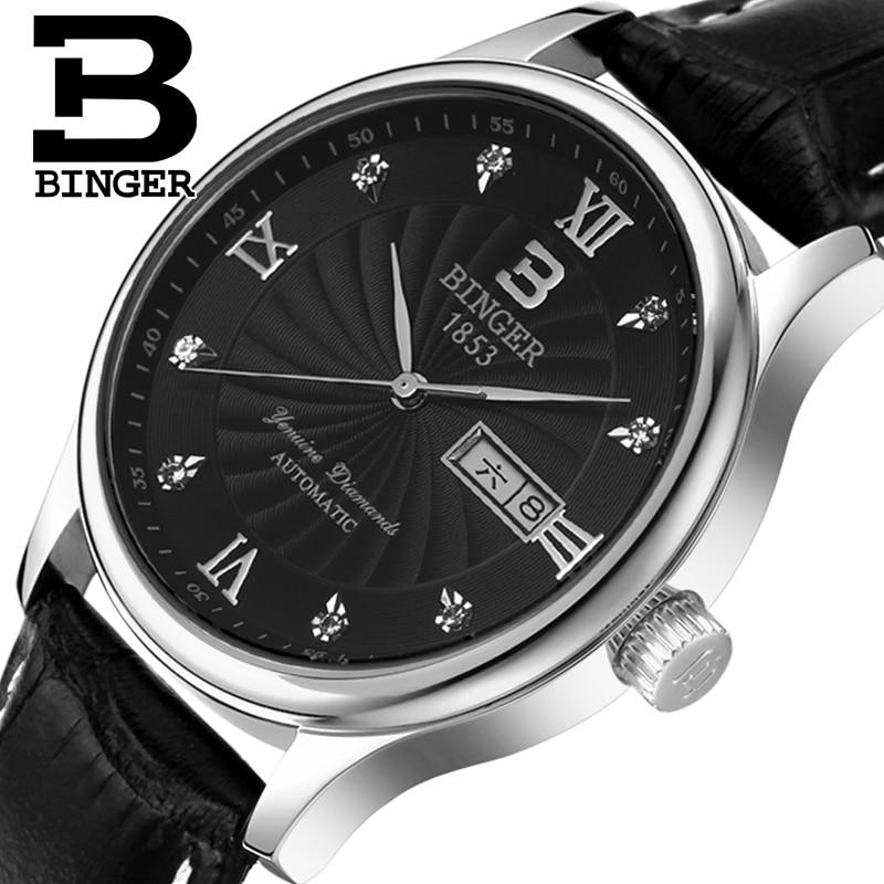 Véritable luxe suisse BINGER hommes bracelet en cuir saphir quartz montre homme mode affaires étanche double calendrier