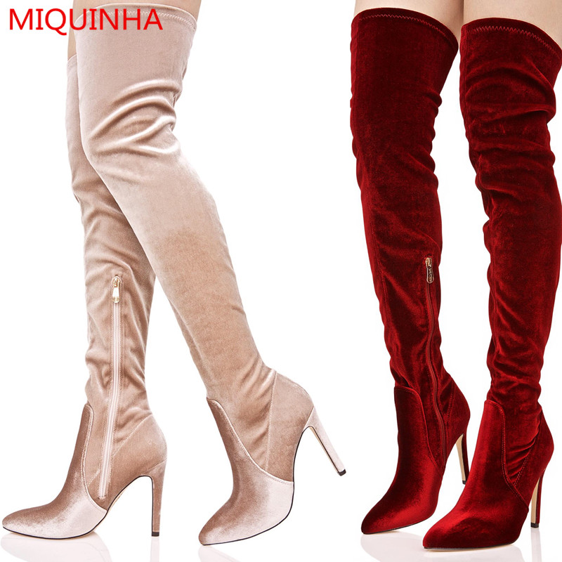 Sexy Wine Velvet Slim Thigh High Women Boots Pointed Toe Zip High Heel Over The Knee Boots Western Style Flat Chaussure Femme jialuowei women sexy fashion shoes lace up knee high thin high heel platform thigh high boots pointed stiletto zip leather boots