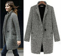 fashion  Winter Latest Casual Women Cool Long Sleeve Oversize Houndstooth Coat Jacket notched Cardigan free shipping