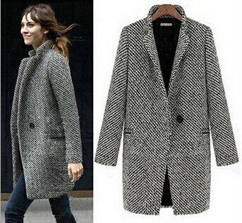 fashion  Winter Latest Casual Women Cool Long Sleeve Oversize Houndstooth Coat Jacket notched Cardigan free shipping