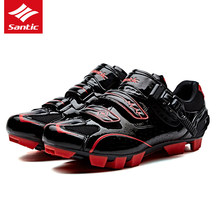 Santic PRO Brand Cycling Shoes Men MTB Bike Shoes PU Breathable Auto-lock Mountain Bicycle Shoes 3 Colors Zapatillas Ciclismo