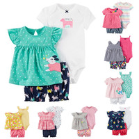 2018 Summer Baby Girl Clothing Princess 3 Pieces Infant Girls Clothes Sets 6M 24M Outfit Baby