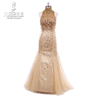 Golden Shiny Beading Open Back Hanging Straps Floor Length Lovely Lady Girl Party Sleeveless Sexy Mermaid Halter Prom Gown 2018