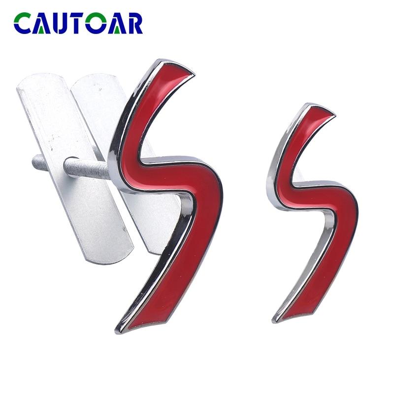 3D S Metal Grade Dianteira Emblema Cromado Etiqueta para Mini Cooper R50 R52 R53 R56 R57 R58 R60 Grill Emblema decalques Exterior Acessó