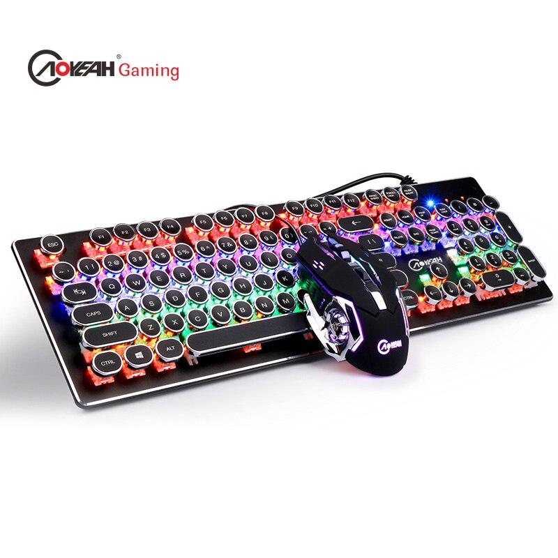 RGB эргономичный QWERT стимпанк колпачки USB проводной Механическая Мультимедиа светодиодный Подсветка игровой клавиатуры компьютера PC Souris Gamer