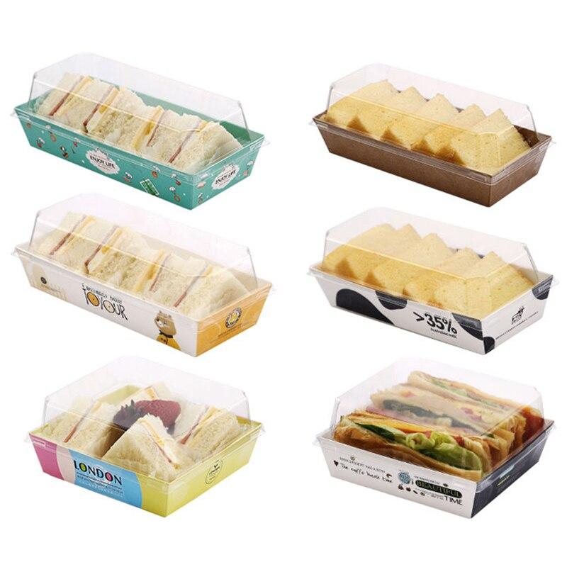 Disposble Sandwich Cardboard Bread Box Puffs Transparent Lid Packing Box Bakery Snack Packaging Box Fast Food Box Take Away Box