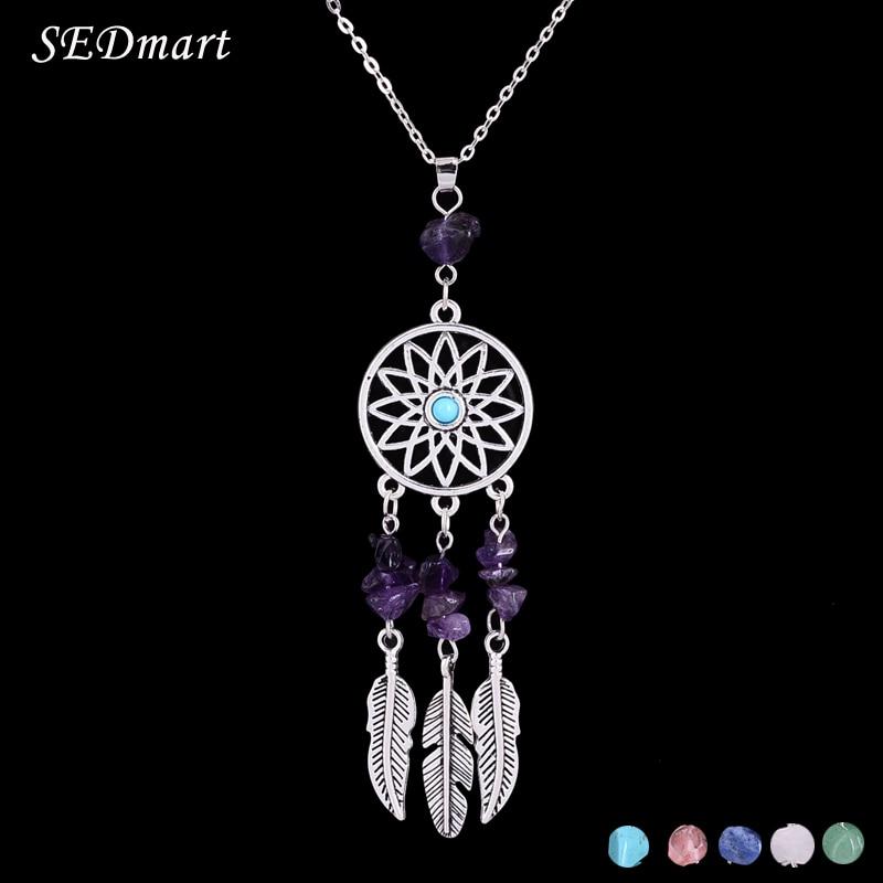 SEDmart indiai toll álomfogó Reiki természetes kő medál nyaklánc etnikai Boho antik ezüst női nyaklánc
