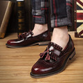 men fashion wedding party nightclub genuine leather brogue shoes carved bullock tassel teenage oxfords shoe slip on loafers male