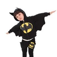 Halloween Costume For Kids Boys Batman Cosplay Costumes Black Hoodies Girls Children Cartoon Suits Long Sleeve