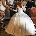 Платье De Novia Vintage Шелковой Атласной Свадебное Платье 2017 Длинные рукава Кружева Бальное платье Принцессы Свадебное Платье Robe de Mariage Princesse