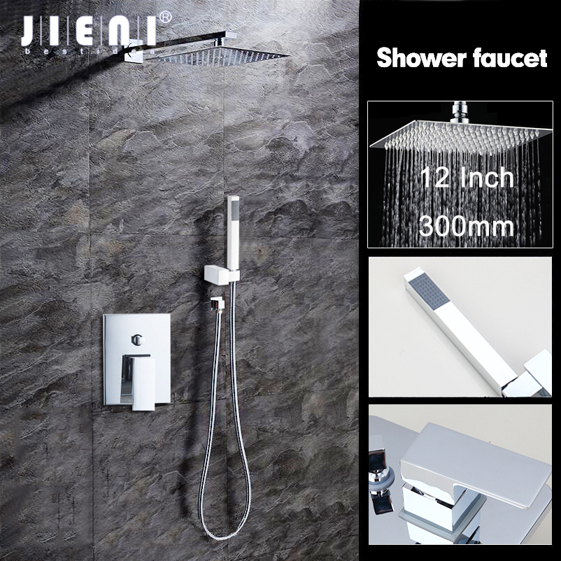 JIENI 12 Inch Wall Mounted Rain Shower Set Luxury Square Shower Head Shower Set with Hand