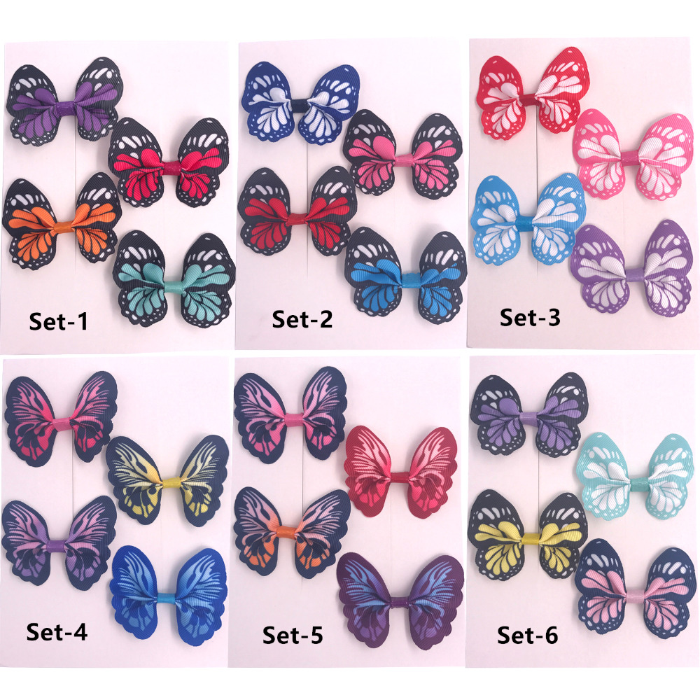 Baby Girls Colorfull Butterfly Hair bow clips Boutique Bow Sets Clips Barrettes Hairgrips accessories Gifts