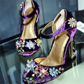 Women Luxury national trend cutout metal bird cage vintage rhinestone high heels velvet gem flower female high-heeled shoes