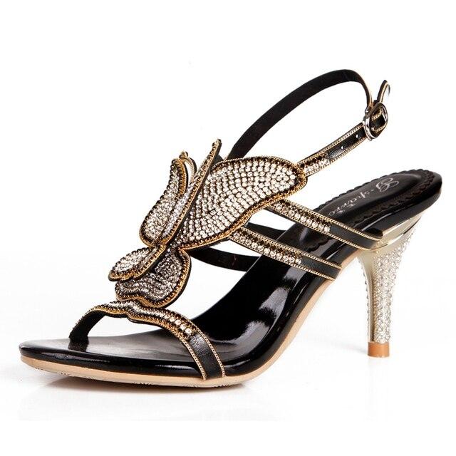 c4ef5b527 Женские босоножки, супер красивые Высокое качество Новые модные и  сексуальные сандалии свадебные туфли со стразами