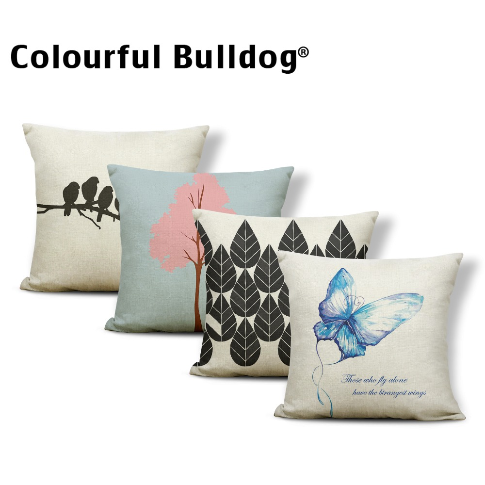 Animal Word Cushion Butterfly Pillow Case Graffiti School Baby Birth Gifts Throw Pillow Cases 45*45 Linen Dropshipping Suppliers