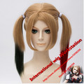 Hot sell Free Shipping  Movie Batman Suicide Squad Harleen Quinzel Harley Quinn Cosplay Wig Styled Curly Synthetic Ponytail Wig