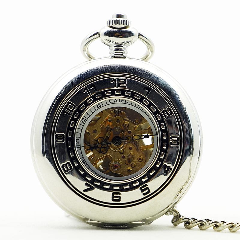 Top Brand Silver Arabic Numbers Pocket Watches Men Mechanical Hand Winding Pocket Unisex Watch Gift PJX1194