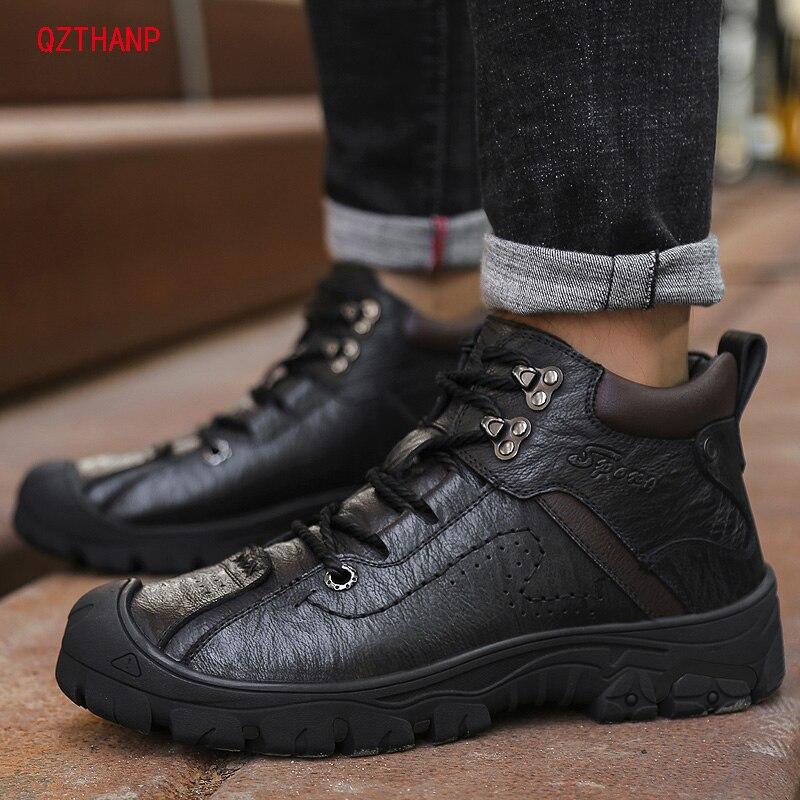 Cheville Cuir En Plate Véritable brown Pour Bottes Mocassins Couche Mâle Sneaker D'hiver forme Première Casual Hommes Black Chaussures Adulte R67B1nx
