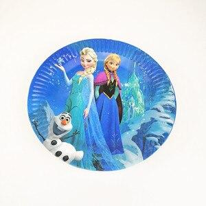 Image 4 - 83 шт Дисней Замороженные тематические кружки, тарелки, салфетки, детские украшения для дня рождения, вечеринок, мероприятий, Товары для детей 10 человек