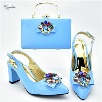 Elegant sky blue pointed toe sandals with clutch handbag latest shoes and purse bag set with stones 108 2 heel height 7cm