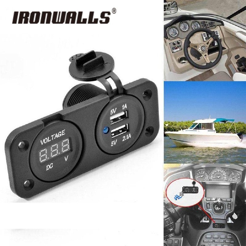 Ironwalls Universal Dual USB Charger Socket with Voltage Gauge Auto Moto LED Digital Battery Voltmeter Tester For Car ATV Phone
