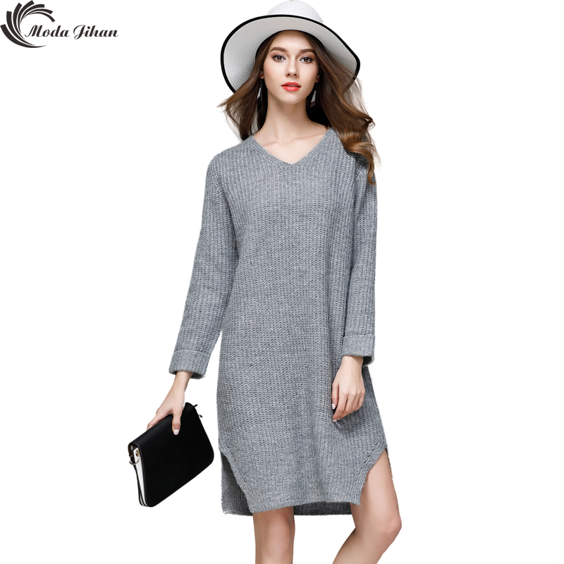 Moda Jihan Women's Knitted Long Dresses Fall Winter Casual V-Neck Solid Side Split  Full Sleeve Loose Sweater Dresses Pullovers