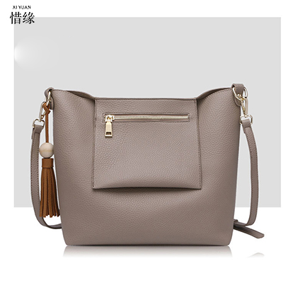 XIYUAN BRAND High quality women Khaki handbags pu leather bags ladies brand bucket shoulder bag vintage crossbody bags for women xiyuan brand ladies beautiful and high grade imports pu leather national floral embroidery shoulder crossbody bags for women