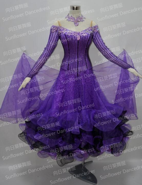 100% New Competition Slik Organza Ballroom Standard Dance Dress,stage Ballroom Dress,Waltz Competition Dress