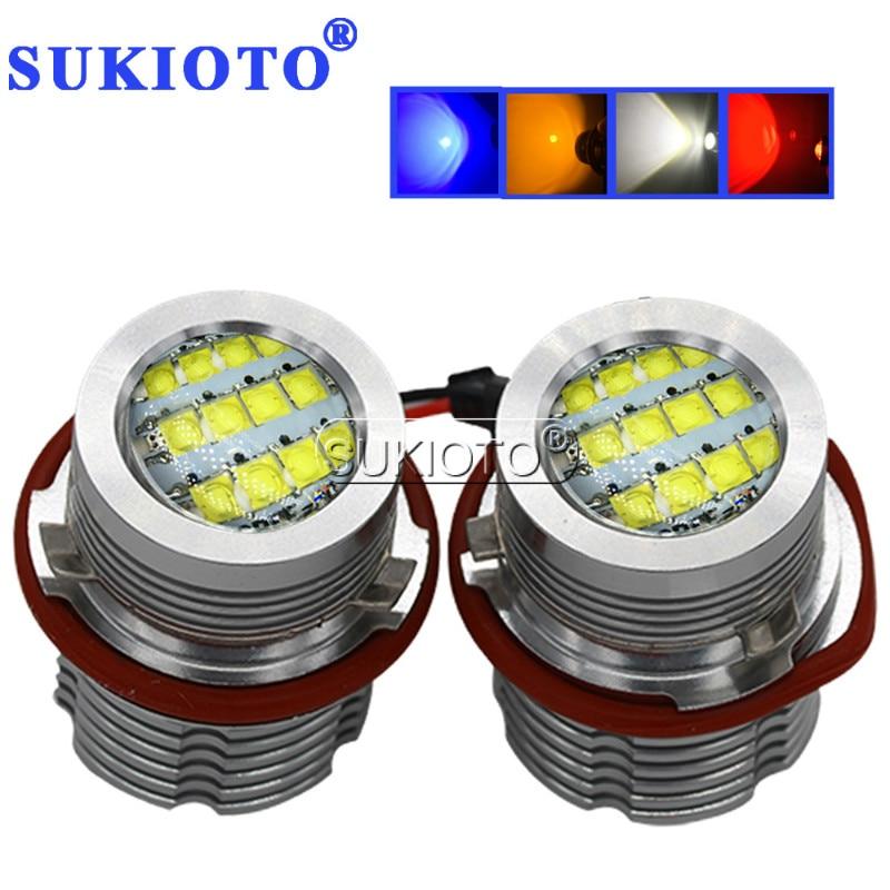 SUKIOTO 2PCS LED Marker e39 LED Angel Eyes White Red Blue Yellow E65 E87 E39 E53